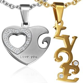 """Paire de pendentifs acier coeur et mot """"Love"""""""