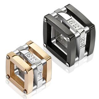 Paire de pendentifs acier cubes structurés pavé de pierres