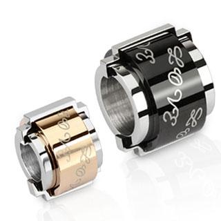 """Paire de pendentifs acier cylindre bicolore """"love"""""""