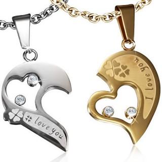 Paire de pendentifs acier moitiés de coeur I Love You