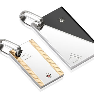 Paire de pendentifs acier plaques abstraites à motifs diagonaux