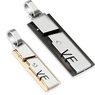 """Paire de pendentifs acier plaques superposées """"love"""" abstrait"""