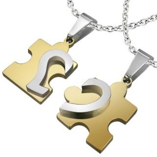 Paire de pendentifs acier puzzle et moitier de coeur