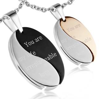 Paire de pendentifs en acier inspiration Yin et Yang avec message d'amour
