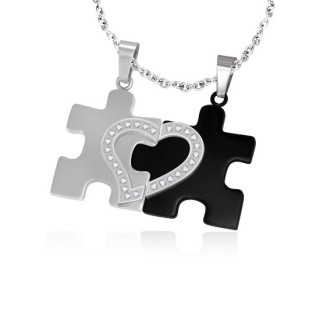 Achat paire de pendentifs puzzle coeur bicolore pas cher for Portent in crossword