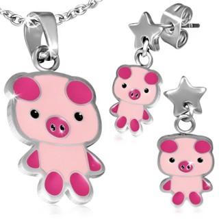 Parure pendentif et boucles d'oreilles à cochon