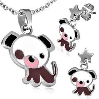 Parure pendentif et boucles d'oreilles à petit chien