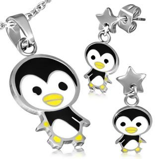 Parure pendentif et boucles d'oreilles à pinguin