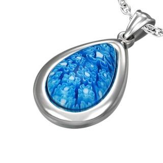 Pendentif acier à goutte fleurie bleue en verre style murano