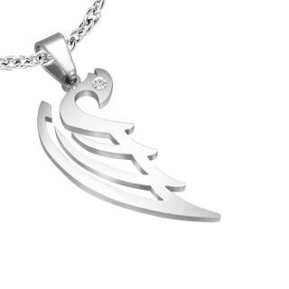Pendentif acier aile d'ange stylisée sertie