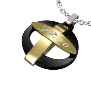 """Pendentif acier anneau noir avec croix dorée à inscription """"love"""""""
