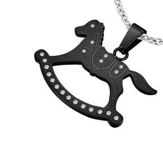 Pendentif acier cheval à bascule serti