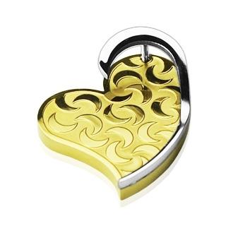 Pendentif acier coeur doré gravé de lunes