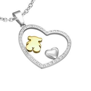 Pendentif acier coeur pavé de pierres, ours et coeur bombé
