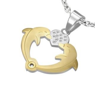 Pendentif acier couple de dauphins avec coeur serti