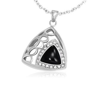 Pendentif acier et verre triple triangle serti à alvéoles