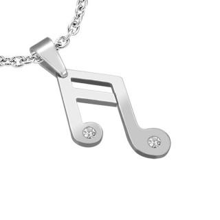 Pendentif acier note de musique sertie