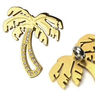 Pendentif acier palmier doré