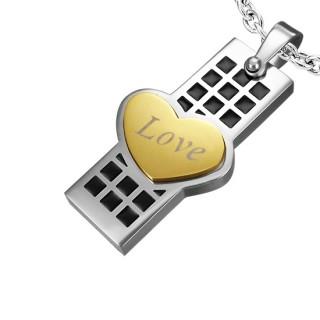 Pendentif acier plaque à damier noir et coeur love doré