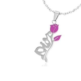 Achat pendentif acier rose avec tige pas cher - Rose avec tige ...