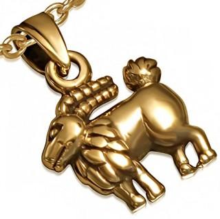 Pendentif astrologique signe Capricorne en bronze