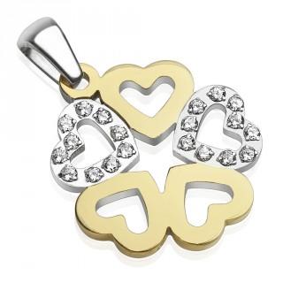 Pendentif farandole de cinq coeurs en acier dorés et argentés sertis