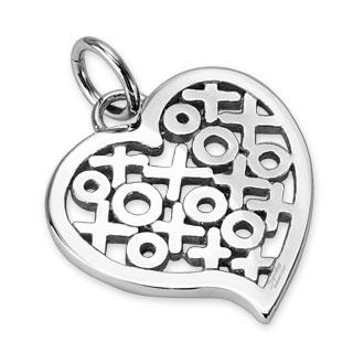 Pendentif femme acier coeur emplis de croix et de ronds
