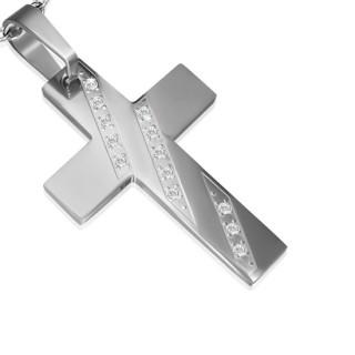 Pendentif femme acier croix à diagonales serties