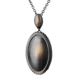 Pendentif femme acier cuivré vintage à médaillon ovale