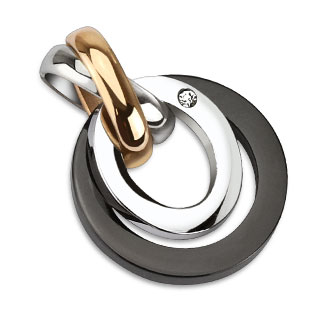 Pendentif femme acier trois tons à anneaux croisés