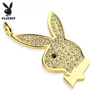 Pendentif femme avec lapin Playboy doré en acier pavé de strass