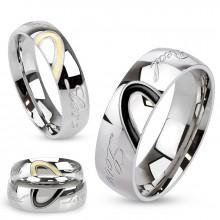 """Bague de couple en acier avec demi coeur et inscription """"love"""""""