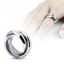 Bague femme acier � trois anneaux crois�s