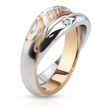 Bague femme en acier � duo d'anneaux serti et grav�