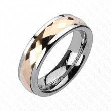 Bague femme tungstene à anneau cuivré facetté