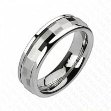 Bague femme tungst�ne avec anneau tournant facett�