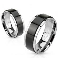 Bague mixte en acier avec anneau tournant noir