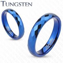 Bague mixte en tungstène bleu à facettes