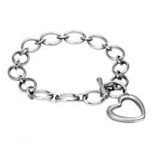 Bracelet acier � anneaux et coeur en contour