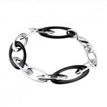 Bracelet acier à boucles ovales noires et grises