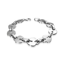 Bracelet acier � maillons cadenas en coeurs