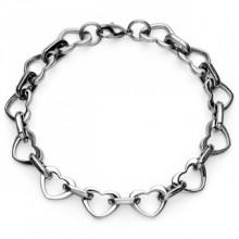Bracelet acier à maillons coeurs et ovales