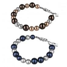 Bracelet acier de perles nacr�es multicolores