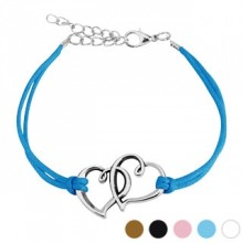 Bracelet fantaisie en similicuir avec deux coeurs