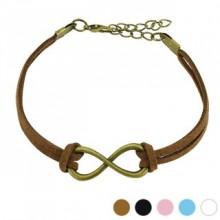 Bracelet fantaisie en similicuir avec large symbole de l'infini