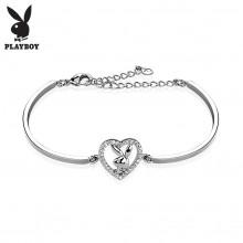 Bracelet fantaisie femme semi-rigide à lapin Playboy dans un coeur de strass