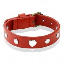 Bracelet femme en cuir rouge � coeurs et rivets m�tal