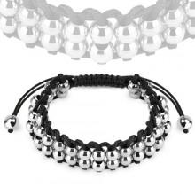 Bracelet mixte en corde avec perles en acier argent�es