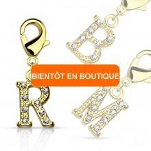 Charm's plaqué or à lettre alphabet pavée de strass