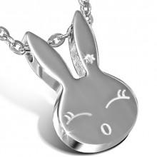 Collier acier chaine et pendentif tête de lapin femelle